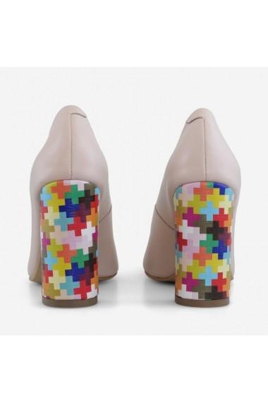 Pantofi cu toc gros din piele naturala somon   Valparaiso Dianemarie P133B