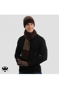 Set cadou barbati fular manusi caciula tricotate maro