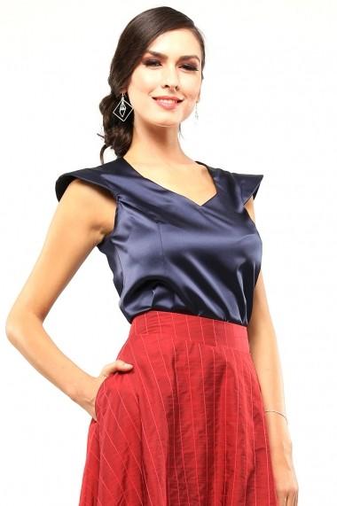 Top din bumbac satinat premium - Notte Blu - Cardinale Rosa bleumarin
