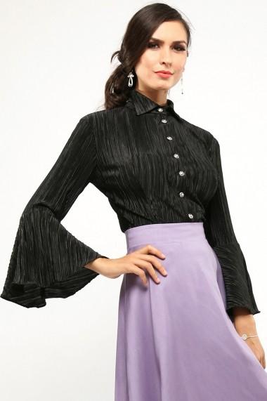 Camasa eleganta cu maneci evazate Nerra Notte - Cardinale Rosa negru