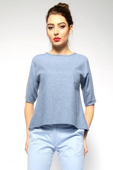 OFFICIAL - Bluza evazata din stofa subtire - Jour Bleu - Official bleu-denim