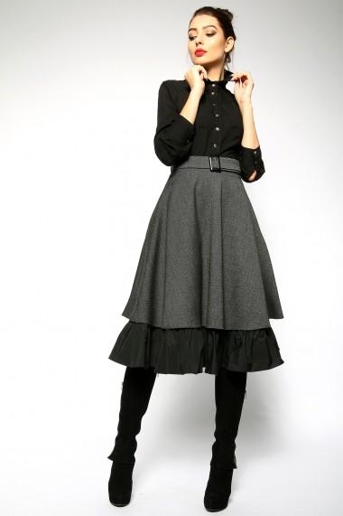 OFFICIAL - Fusta clos din stofa de lana - Petite Cherie - Official gri