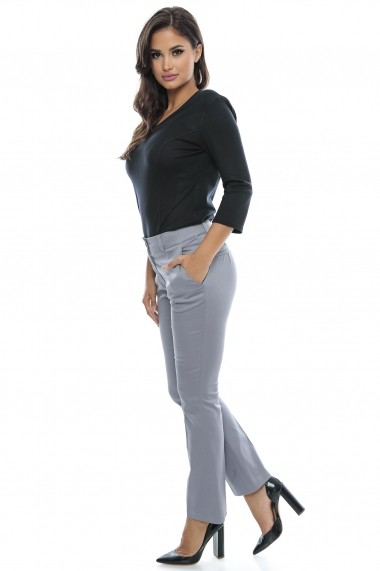 Pantaloni din bumbac Bright Gray Fall - Sweet Rose of Mine gri DUO-SR0062GFN
