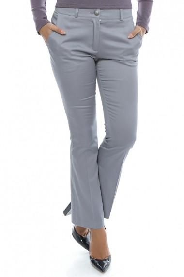 Pantaloni din bumbac Bright Gray Fall - Sweet Rose of Mine gri DUO-SR0062GFN