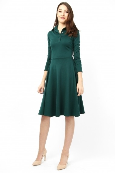 Rochie din jerse bumbac - Emerald Dark - Sweet Rose of Mine verde inchis DUO-SR011ED