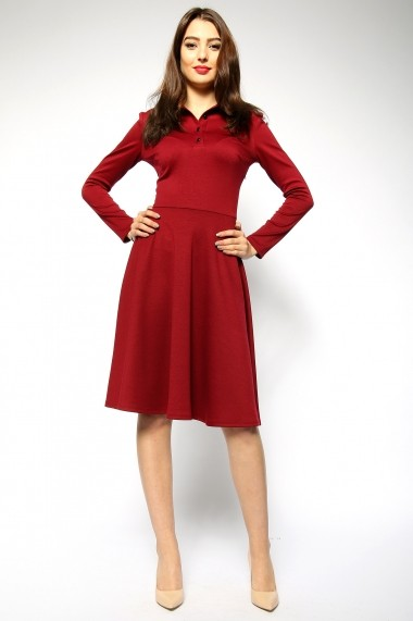 Rochie clos tip polo - Young Bordeaux - Sweet Rose of Mine grena DUO-SR011YBO