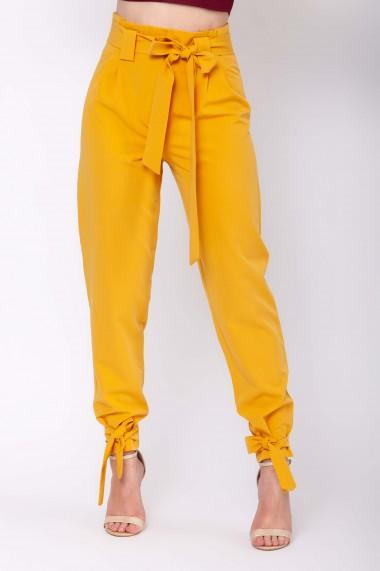 Pantaloni ClothEGO cu talie inalta si cordoane, Galben-mustar