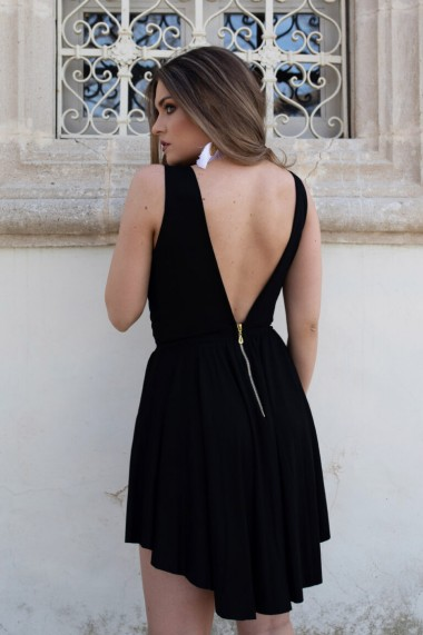 Rochie asimetrica ClothEGO cu spatele gol, Neagra
