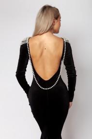 Rochie sirena ClothEGO din catifea cu perle Neagra