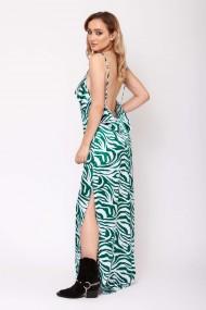 Rochie lunga ClothEGO, cu spatele gol, Alb/verde smarald