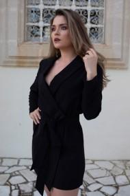 Rochie-sacou ClothEGO petrecuta, cu cordon, Neagra