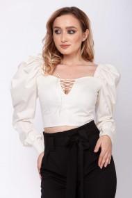 Bluza-corset ClothEGO cu umeri bufanti, Alb