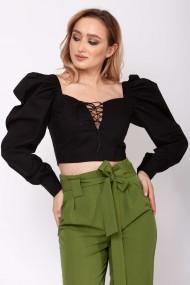 Top-corset ClothEGO cu umeri bufanti, Negru