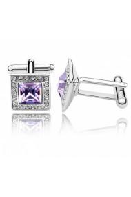 Butoni SQUARE cu cristale violet placati cu aur, garantie 6 luni