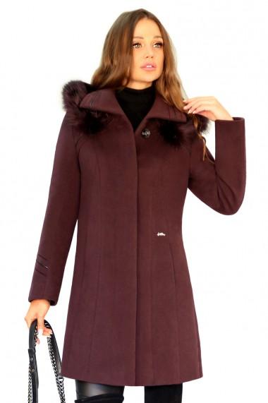 Palton elegant din stofa fina, OLGA G12 culoarea pruna inchisa