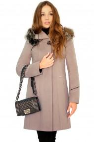 Palton elegant din stofa fina, OLGA G9 culoarea capucinno