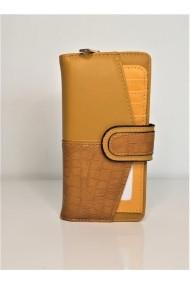 Portofel de dama din piele ecologica AB601 galben