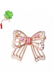 Brosa Funda rose cu cristale  si placata cu aur 18K garantie 6 luni