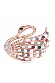 Brosa Swan  cu cristale  multicolor  si placata cu aur 18K garantie 6 luni