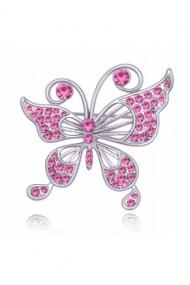 Brosa Fluture cu cristale rose si placata cu aur 18K garantie 6 luni