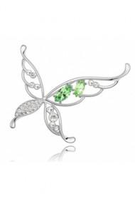Brosa Butterfly X cu cristale verde  si placata cu aur 18K garantie 6 luni