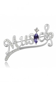 Brosa Music silver cu cristale violet si placata cu aur 18K garantie 6 luni
