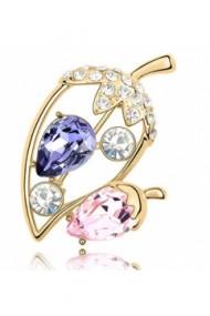 Brosa Ghinda  cu cristale violet-rose, placata cu aur 18K garantie 6 luni