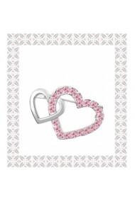 Brosa Double Heart  cu cristale rose  si placata cu aur 18K garantie 6 luni