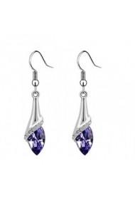 Cercei water drop violet inchis cu cristale