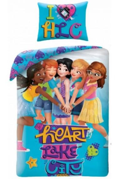 Lenjerie de pat pentru copii Lego Friends Heart like City 140×200cm, 70×90 cm - Lego Friends