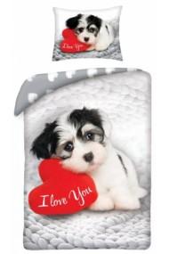 Lenjerie de pat pentru copii Love Dog 140×200cm, 70×90 cm - Caine