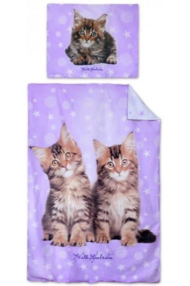 Lenjerie de pat pentru copii Pisica 140×200cm, 70×90 cm