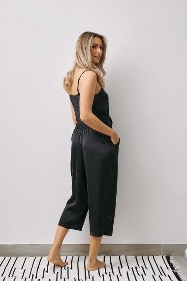 Pantaloni EMA T Less is More Negri din Satin