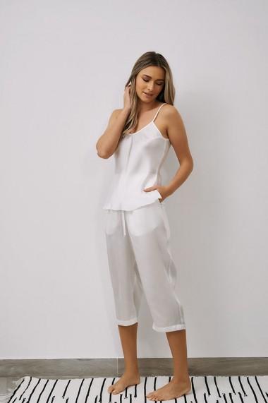 Pantaloni EMA T Less is More Albi din Satin