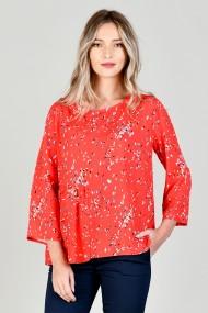 Bluza din vascoza cu volan lateral rosie