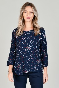 Bluza din vascoza cu volan lateral bleumarin