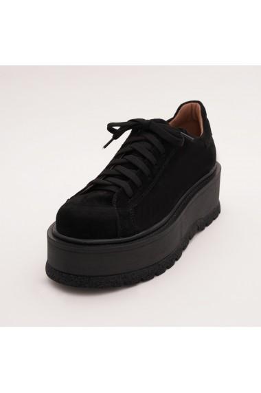 Pantofi din piele naturala Fashion Loft talpa inalta, negri