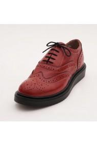 Pantofi casual din piele naturala Fashion Loft cu siret bordo