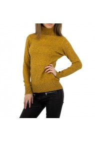 Maleta dama tricotata, guler inalt, culoarea mustar