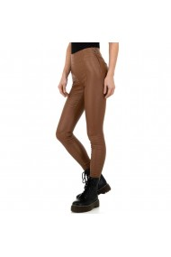 Pantaloni dama piele ecologica, fermoar lateral, maro