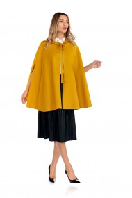 Capa Fashion Loft larga din stofa culoarea mustar croi larg