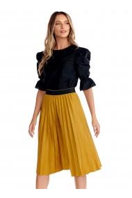 Fusta midi Fashion Loft din catifea culoarea mustar in clos plisata