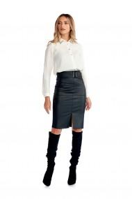 Fusta neagra office Fashion Loft din piele ecologica curea talie