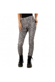 Pantaloni dama, model animal print , culoare gri