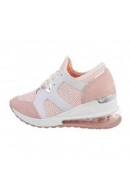 Pantofi sport dama, talpa moale, inchidere cu siret, roz