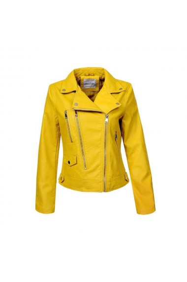 Jacheta dama casual, inchidere cu fermoar, culoarea galbena