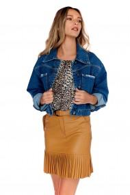 Jacheta albastra Fashion Loft casual scurta cu croi larg din denim