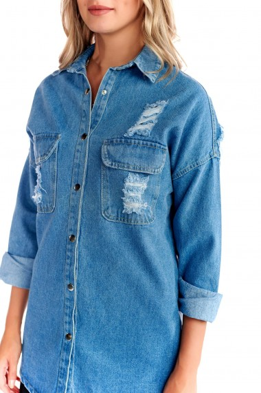 Jacheta din denim Fashion Loft albastru lunga cu imprimeu pe spate