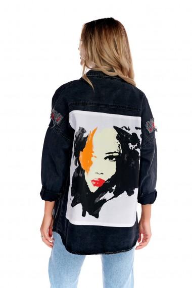 Jacheta din denim Fashion Loft neagra lunga cu model pe spate