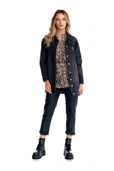 Geaca din denim Fashion Loft lunga cu buzunare culoarea neagra